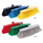 Deluxe Plastic Broom Heads Stiff & Soft Colour Coded