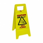 Safety Non Tip Folding Yellow Sign 'Wet Floor' & 'Cleaning In Progress'
