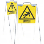 Safety Floor Sign Yellow 'Caution Cleaning In Progress' & 'Slippery Surface'