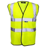 Hi Visibility Warning Vest Yellow Black Piping Safety Workwear